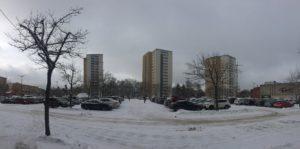 Vinterbild parkering Farsta centrum!