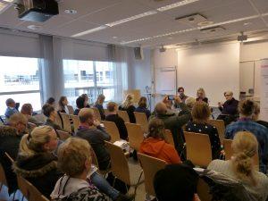 Ola Linder, Andrea Bondesson och Susanne Berg i panelen på seminarium på MR-dagarna i Jönköping.