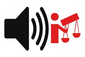 Vems Val podcast logotyp men utan text utan bara med symbolen för lud ur högtalare och Lagen som verktygs-mannen