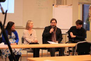Paneldebatt om att göra konventionen till lag. Från vänster: Hanna Gerdes, Anna Quarnström, Ola Linder och Jonas Franksson.
