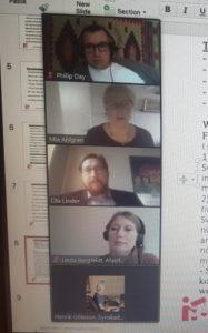 Foto av skärmen: Deltagare på webbinarium om tillgänglighetsdirektivet:Philip Day, Mia Ahlgren, Ola Linder, Linda Bergfeldt, Henrik Götesson