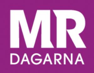 MR-dagarnas logotype: MR i stora versaler och dagarna i i små versaler i vitt på lila botten.