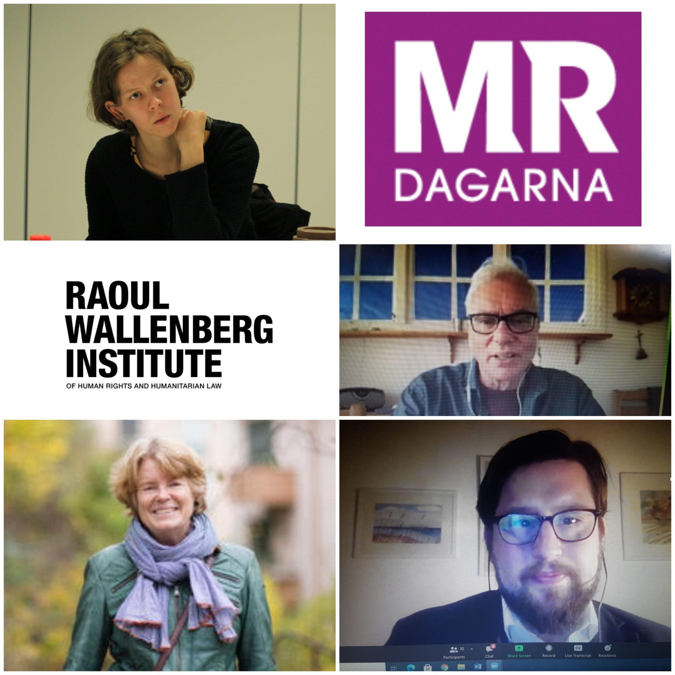 Bildcollage: Mari, MR-dagarna-logga, Raul Wallnber-instituts-logga, Martin Klepke, Lise Bergh och Ola